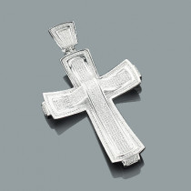 Sterling Silver Large Mens Diamond Cross Pendant Jewelry 1.81ct