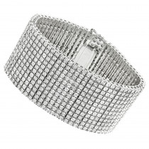 Sterling Silver Mens Diamond Cuff Bracelets 2 Carat 12 Row Tennis Bracelet