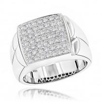 Luxurman Mens Diamond Rings 14 Gold Pave Diamonds 0.95ct