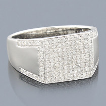 Mens Diamond Ring Sterling Silver 0.72ct