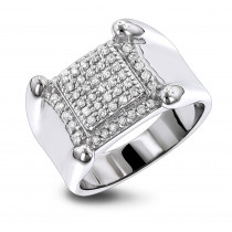 Mens Diamond Rings 10K Gold Round Diamond Ring 0.8ct