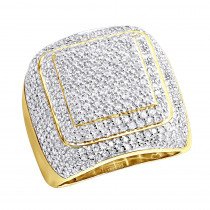 Mens Diamond Rings 14K Gold Square Ring 3.44ct