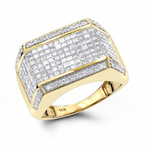 Mens Diamond Rings 14K Round Princess Diamond Ring 2.25