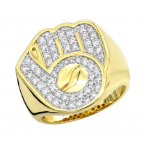 Mens Diamond Rings Baseball Glove and Ball Ring 10k Gold 1.2ct by Luxurman