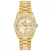 Mens Diamond ROLEX Oyster Watch Perpetual Day-Date