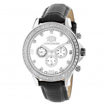 Men's Diamond Watches: Luxurman Liberty 2ct Black Leather Band White MOP