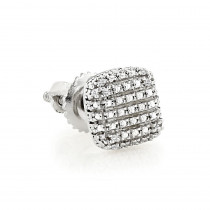 Mens Earrings: Single Sterling Silver Diamond Stud Earring 0.02ct