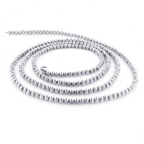 Mens Gold Chains: White Gold Ball Moon Cut Chain 10K 4 mm