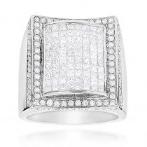Mens Gold Ring with Princess Cut Round Diamonds 3.67ct 14K