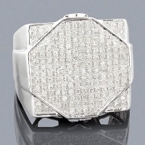 Mens Hip Hop Diamond Ring 0.87ct 10K Gold