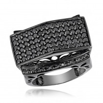 Large 4 Carat 14K Gold Black on Black Diamond Ring for Men