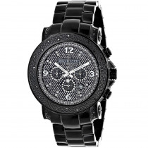 Mens Oversized Black Diamond Watch by LUXURMAN 0.75ct Chronograph