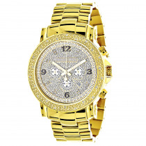 Mens Oversized Diamond Luxurman Watch 0.25ct Yellow Gold