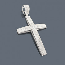 Mens Pave Diamond Cross Pendant 14K 2.89ct