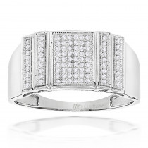 Mens Pave Diamond Ring 0.3ct Solid Gold