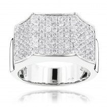 Mens Pave Diamond Ring 14K 2.07ct