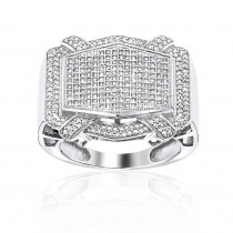 Mens Pave Diamond Ring 14K Gold 1.09ct