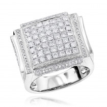 Mens Pave Diamond Ring 3 ct 14K Designer Jewelry