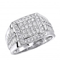 Mens Pinky Rings 1 Carat Diamond Ring For Men in 10k Gold Square Shape