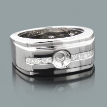 Mens Princess Cut Diamond Ring Mounting 0.42ct 14K Gold