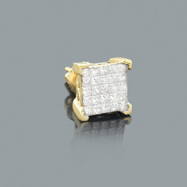 Mens Princess Cut Invisible Diamond Earring 0.69ct 14K Gold