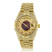 18k Gold Mens Rolex Oyster Perpetual Day-Date Custom Diamond Watch 14ct