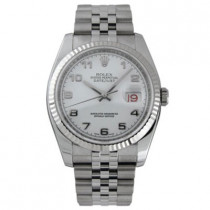 Mens ROLEX Oyster Watch Perpetual Datejust Steel White