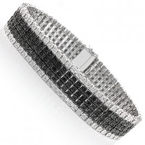 Mens Silver Diamond Bracelet 1.20ct Black and White