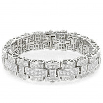 Mens Silver Diamond Bracelet 3.25 ct