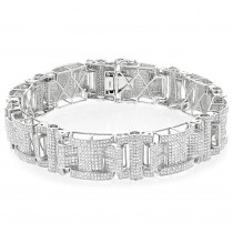 Mens Silver Diamond Bracelet 7.45ct
