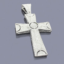 Mens Sterling Silver Diamond Cross Pendant 1.90ct
