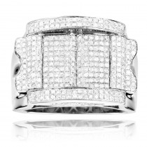 Mens Silver Diamond Ring 1.57ct