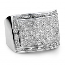 Mens Silver Ring with Diamonds 0.86ct