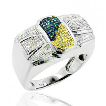 Mens Silver Rings: White Blue Yellow Diamond Ring 0.30ct