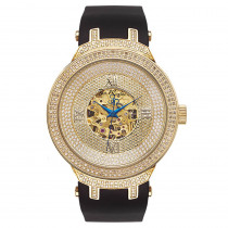 Automatic Mens Skeleton Joe Rodeo Diamond Watch 2.2ct Yellow