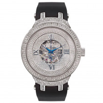 White Mens Skeleton Watches AutomaticJoe Rodeo Diamond Watch 2.20ct