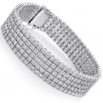 Mens Sterling Silver Bracelets: 5 Row Diamond Bracelet 0.81ct