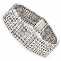 Mens Sterling Silver Bracelets: 6 Row Diamond Bracelet 1.01ct