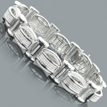 Mens Sterling Silver Bracelets: Diamond Bracelet 1.25ct