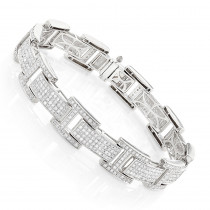 Mens Sterling Silver Diamond Bracelet 3.96 ct