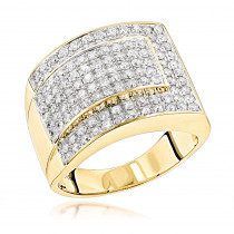 Mens Two Carat Diamond Gold Ring by Luxurman 14K Gold
