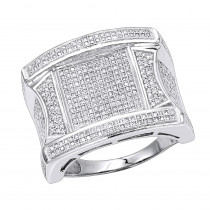 Mens Unique Diamond Ring 14K 1.25ct