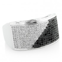 Mens White Black Diamond Ring 0.71ct 10K Gold