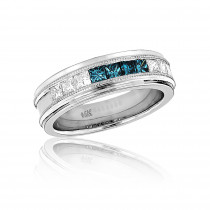 Mens White Blue Diamond Wedding Band 1.1ct 14k Gold Princess Cut Diamonds