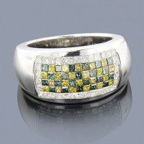 Mens White Blue Yellow Diamond Ring 2ct 14K