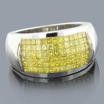 Mens Yellow Diamond Ring 14K 2 Carats