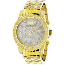 Mens Yellow Gold Tone Watch with Diamonds 0.50ct Luxurman