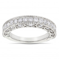 Milgrain & Filigree Designer Diamond Wedding Band for Her 1 Carat 14K Gold