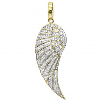 Mini 10K Gold Diamond Angel Wing Necklace Pendant 0.65ct by Luxurman