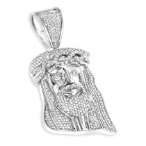 Mini Diamond Jesus Head Pendant in Sterling Silver 0.75 ct